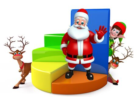 three wishes: 3d rendered illustration of santa claus with business graph Stock Photo