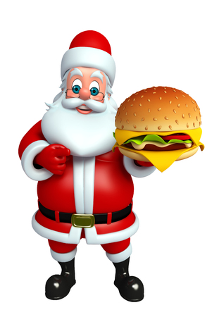 wishlist: 3d rendered illustration of santa claus with burger Stock Photo