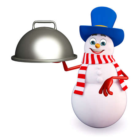 three wishes: 3d rendered illustration of snowman with pan