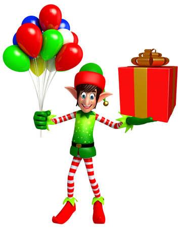elves: 3d rendered illustration of elves with gift box