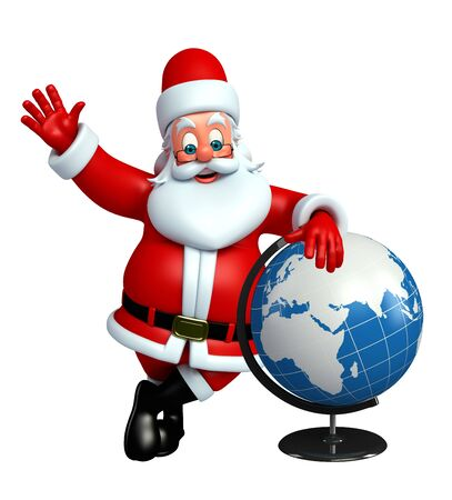 three wishes: 3d rendered illustration of santa claus with globe