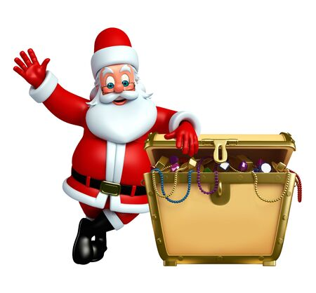 3d rendered illustration of santa claus with treasury box