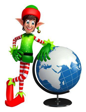 elves: 3d rendered illustration of elves with globe