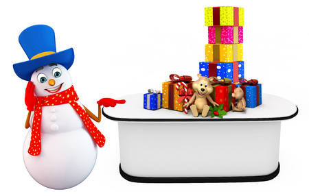 three wishes: 3d rendered illustration of snowman with gifts Stock Photo