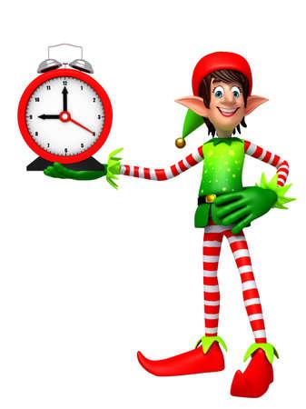 elves: 3d rendered illustration of elves with clock