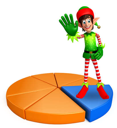 three wishes: 3d rendered illustration of elves with business graph