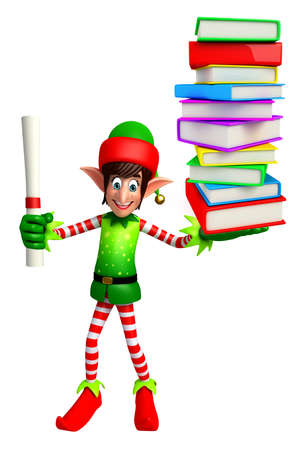 three wishes: 3d rendered illustration of elves with books pile Stock Photo