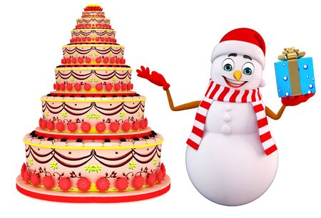 snowman 3d: 3d rendered illustration of snowman with cake Stock Photo