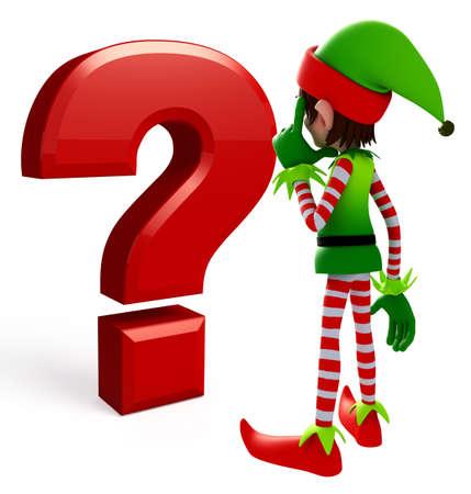 elves: 3d rendered illustration of elves with question mark sign