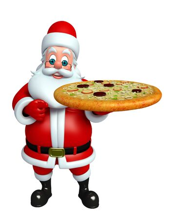 3d rendered illustration of santa claus with pizza