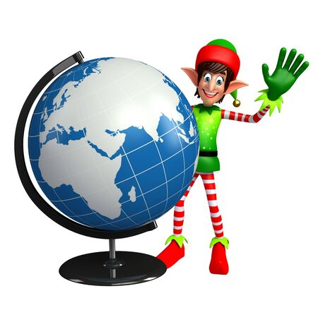 three wishes: 3d rendered illustration of elves with globe