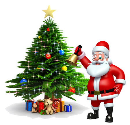 three wishes: 3d rendered illustration of santa claus with christmas tree