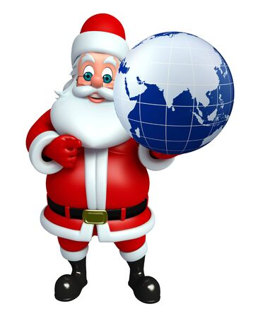 3d rendered illustration of santa claus with globe