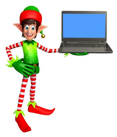 three wishes: 3d rendered illustration of elves with laptop Stock Photo