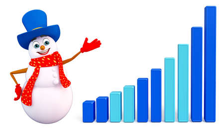 snowman 3d: 3d rendered illustration of snowman with business graph