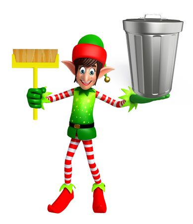 dustbin: 3d rendered illustration of elves with dustbin Stock Photo