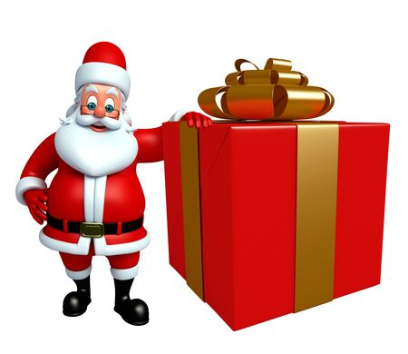 3d rendered illustration of santa claus with gift box Stock Photo