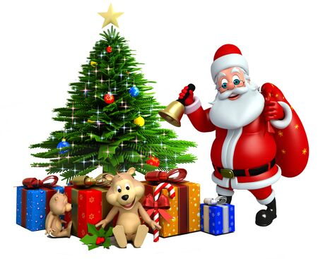 wishlist: 3d rendered illustration of santa claus with christmas tree
