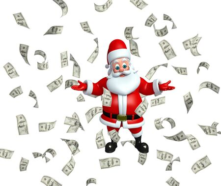 wishlist: 3d rendered illustration of santa claus with money Stock Photo