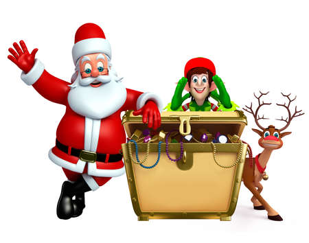 toy sack: 3d rendered illustration of santa claus with treasure box Stock Photo