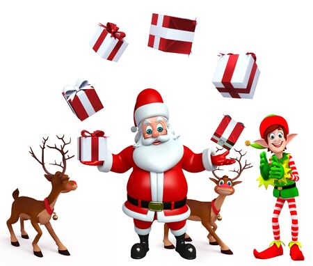 three wishes: 3d rendered illustration of santa claus with gifts Stock Photo