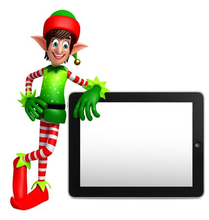 tab: 3d rendered illustration of elves with tab Stock Photo