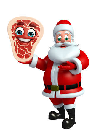toy sack: 3d rendered illustration of santa claus with meat steak