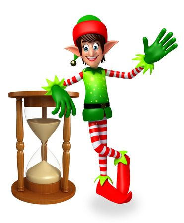 elves: 3d rendered illustration of elves with sand clock Stock Photo