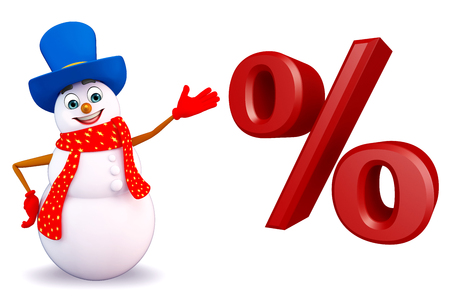three wishes: 3d rendered illustration of snowman with percentage sign