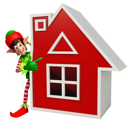 three wishes: 3d rendered illustration of elves with house