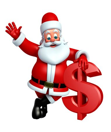 three wishes: 3d rendered illustration of santa claus with dollar Stock Photo