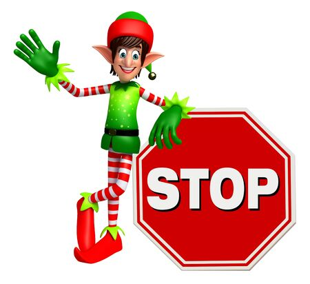 three wishes: 3d rendered illustration of elves with stop sign