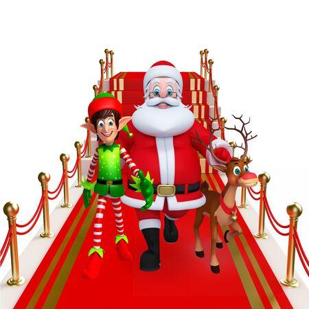 wishlist: 3d rendered illustration of santa claus on red carpet