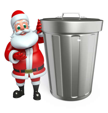 three wishes: 3d rendered illustration of santa claus with dustbin