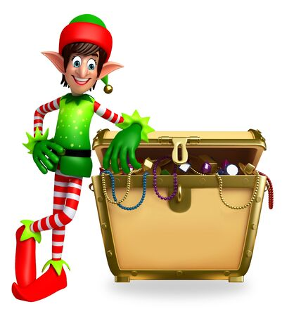 treasury: 3d rendered illustration of elves with treasury box