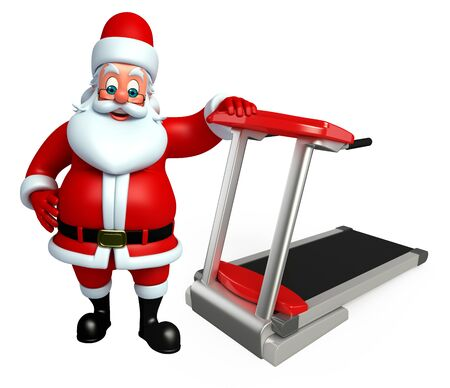 wishlist: 3d rendered illustration of santa claus with exrecising machine