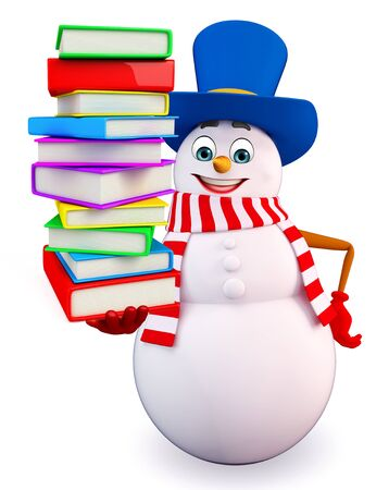 three wishes: 3d rendered illustration of snowman with books pile