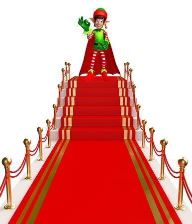 three wishes: 3d rendered illustration of elves on red carpet Stock Photo