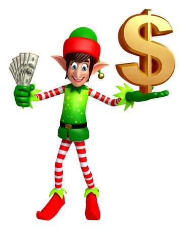 three wishes: 3d rendered illustration of elves with dollar
