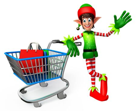 three wishes: 3d rendered illustration of elves with shopping bags