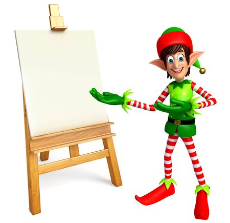 elves: 3d rendered illustration of elves with drawing canvas