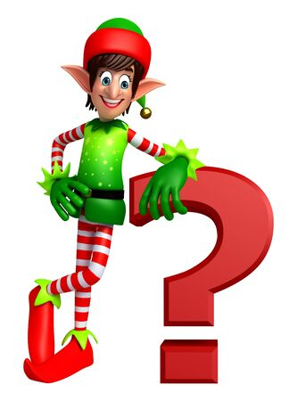 three wishes: 3d rendered illustration of elves with question mark sign
