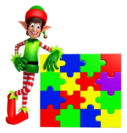 three wishes: 3d rendered illustration of elves with puzzle Stock Photo