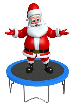 trampoline: 3d rendered illustration of santa claus with trampoline jumping bed