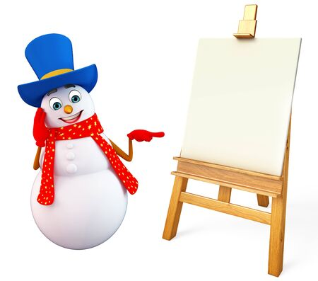 three wishes: 3d rendered illustration of snowman with drawing canvas