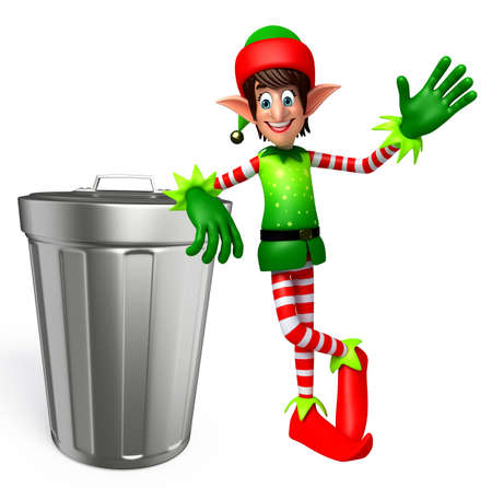 three wishes: 3d rendered illustration of elves with dustbin Stock Photo