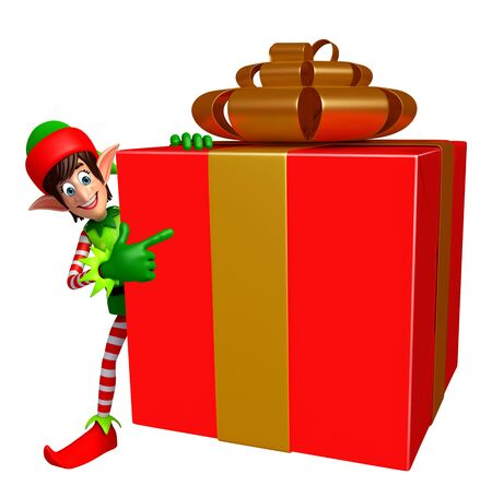 three wishes: 3d rendered illustration of elves with gift box