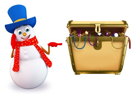 3d rendered illustration of snowman with treasury box Stock Photo