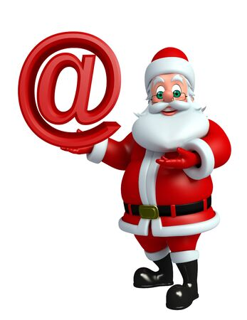 wishlist: 3d rendered illustration of santa claus with at the rate sign Stock Photo