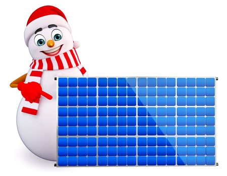 panels: 3d rendered illustration of snowman with solar panels